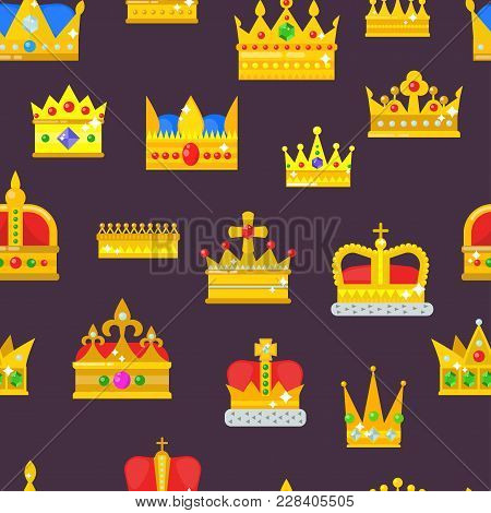 Crown Vector Golden Royal Jewelry Symbol Of King Set Queen Princess Crowning Prince Authority Crown