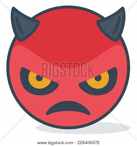Isolated Angry Evil Emoticon. Vector Emoticon On White Background