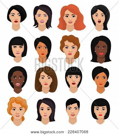 Woman Portrait Vector Female Character Face Of Girl With Hairstyle And Cartoon Person With Various S