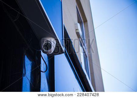 Closed-circuit Camera,cctv Factory. Camera On Dark Background.