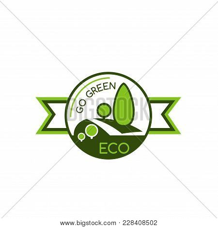 Icon With Symbol Of Saving World Environment. Eco And Green Concept Badge. Symbol Of Green Trees And