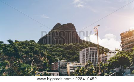View Of The Two Brothers Mountain Located In Beach Zone Of Rio De Janeiro In Brazil Between Leblon A