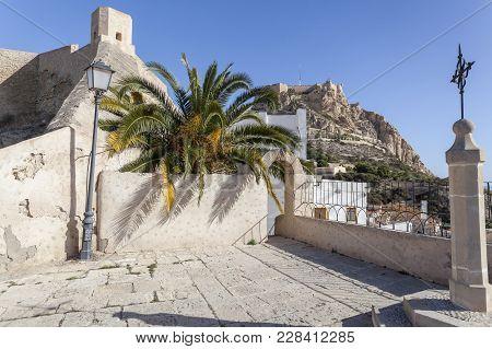 Alicante, Spain- January 18, 2018: Hermitage Church,ermita Santa Cruz.typical Neighborhood Historic