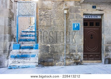 Alicante, Spain- January 18, 2018: Street View, Historic Center,pension Door. Alicante, Spain.
