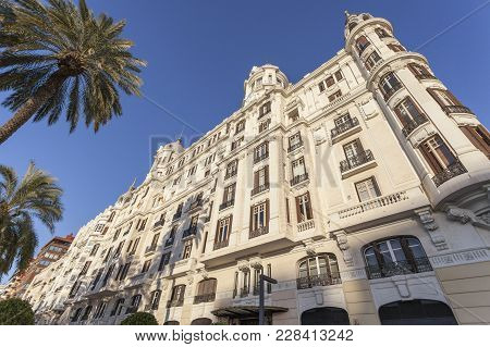 Alicante, Spain- January 18, 2018: Architecture Building Casa Carbonell,emblematic City Point. Alica