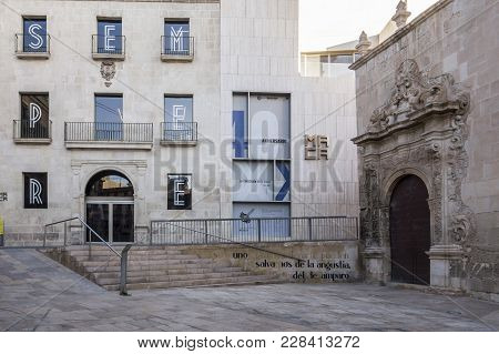 Alicante, Spain- January 18, 2018: Historic Center, Church,basilica Santa Maria And Museum.alicante,