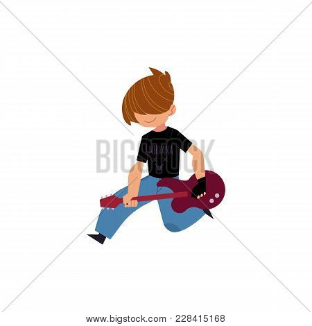 Vector Flat Rock Music, Culture People, Alternative Punk Style Clothing, Haircut Man Playing Electri