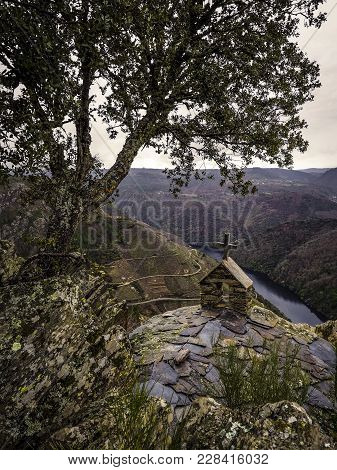 Hermitage In Ruins Of San Mauro Viewpoint Of Pena Do Castelo On The River Sil, Doade, Galicia. Spain