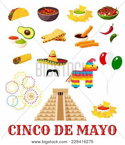 Mexican Fiesta Party Food Icon Set For Cinco De Mayo Holiday. Chili Pepper, Sombrero And Avocado Gua