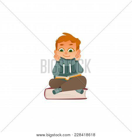 Vector Cartoon Small Boy, Male School Or Kindergarten Character Warm Pullover Sitting At Big Book Re