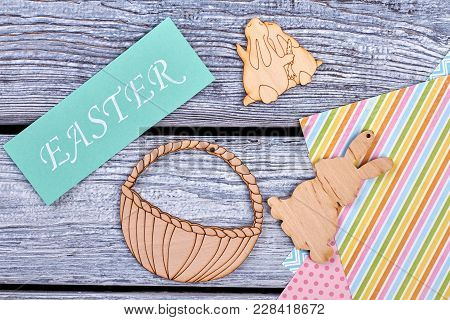 Handmade Easter Decor Items, Top View. Easter Greeting Card, Plywood Cut Out Bunnies And Basket, Col