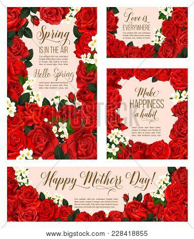 Spring Is In Air Seasonal Greeting Cards For Mother Day Holiday Of Red Roses And Flowers Bunch For S
