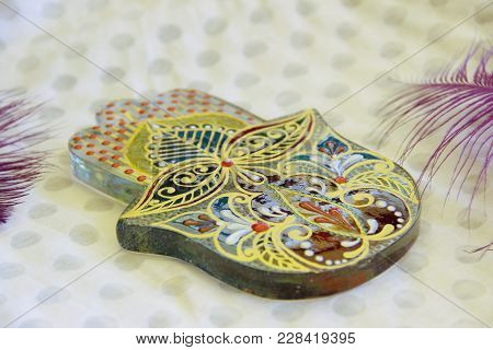 Photo Of Painted Glass Hamsa With Oriental Pattern