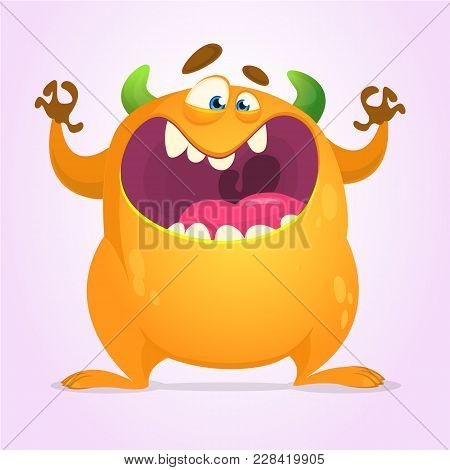 Angry Cartoon Monster. Halloween Vector Illustration. Design For Print, Sticker Or Party Decoration