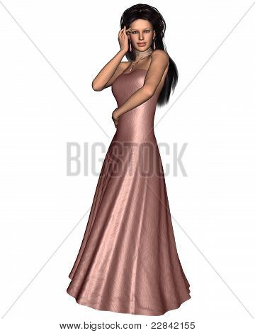Woman in Pink Evening Dress