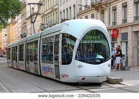 Lyon, France - June 15, 2016: Modern Tram On The Street Of Lyon