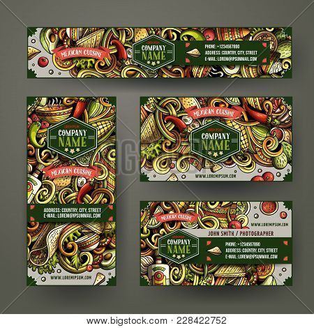 Corporate Identity Vector Templates Set Design With Doodles Hand Drawn Mexican Food Theme. Colorful