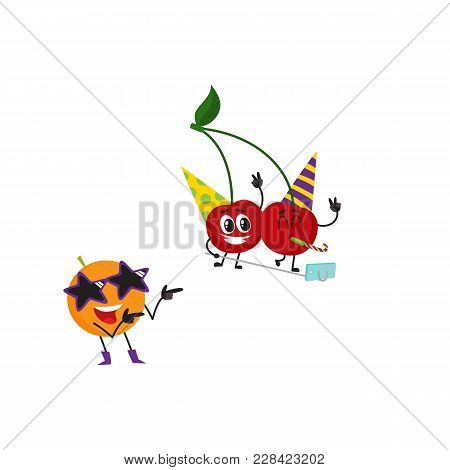 Vector Flat Fruit Characters Summer Party Set. Orange In Fancy Star Glasses Dancing, Cherry Making S