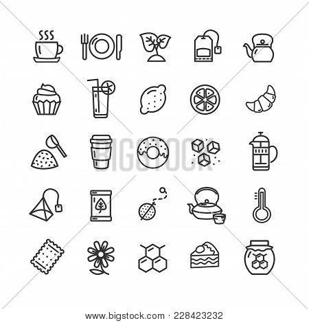 Tea Ceremony Signs Black Thin Line Icon Set Include Of Cake, Teaspoon, Coctail, Cupcake And Utensil.