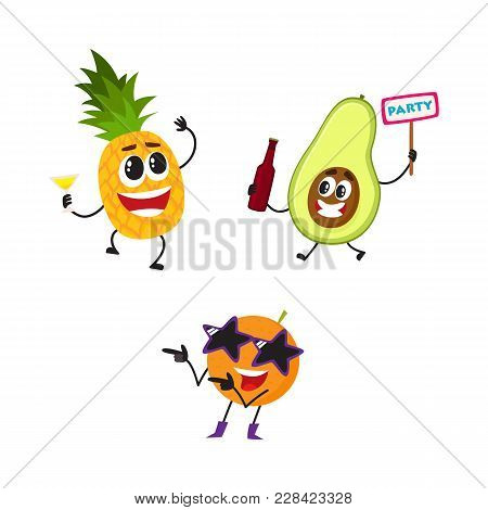Vector Flat Fruit Characters Summer Party Set. Orange In Fancy Star Glasses Dancing, Pineapple Holdi