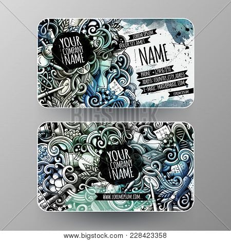Cartoon Graphics Watercolor Vector Hand Drawn Doodles Science Corporate Identity. 2 Id Cards Design.