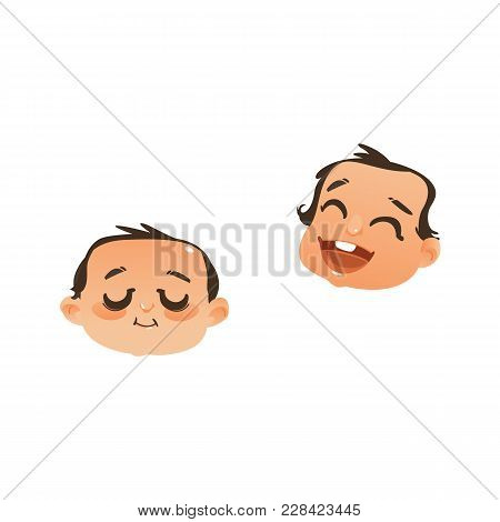 Set Of Two Baby Face, Head Icons - Sleeping And Laughing, Flat Vector Illustration Isolated On White