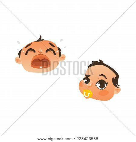 Vector Flat Baby Face With Facial Expression Set. Dissapointed Unhappy Boy Kid Crying, Curious Child