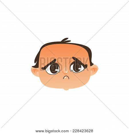Vector Flat Baby Face With Sad Facial Expression, Dissapointed Unhappy Boy Kid. Cartoon Male Funny E