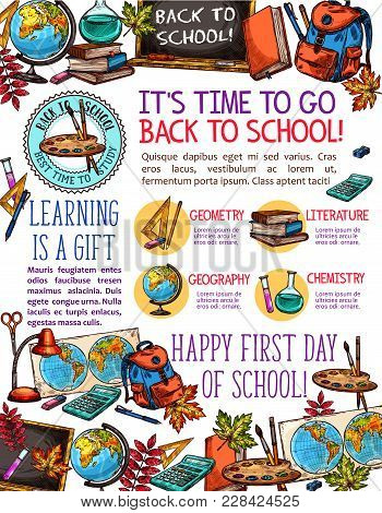 Back To School Time Poster Design Of Sketch School Bag And Lesson Stationery. Vector School Book Or