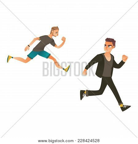 Vector Cartoon Ranaway People Set. Sportive Man Sprinting, Young Male Character Running With Afraid