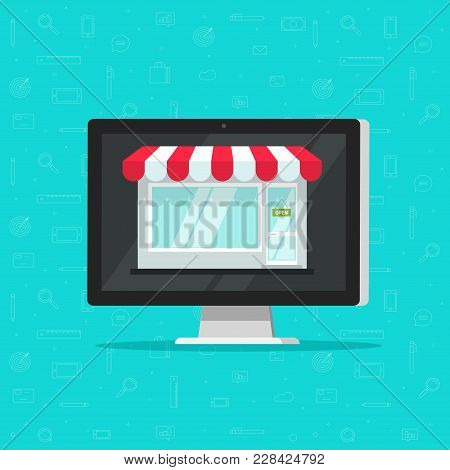 Online Shop On Computer Vector Illustration, E-commerce Store, Internet Shop Isolated, Flat Cartoon