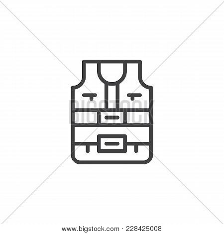 Safety Vest Outline Icon. Linear Style Sign For Mobile Concept And Web Design. Life Jacket Simple Li