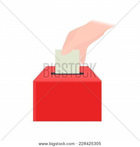 Vector Illustration Of A Hand Putting A Voting Paper In The Election Box