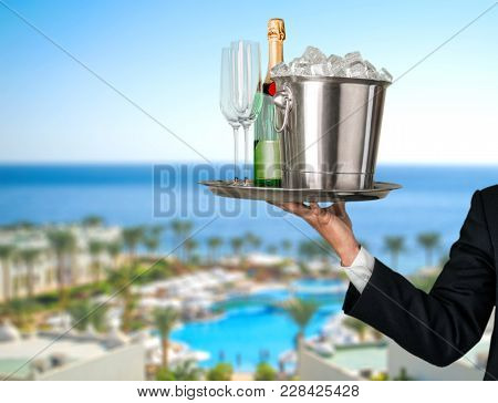 Champagne Flute Alcoholic Drink Champagne Glasses Yellow Background Object Nobody
