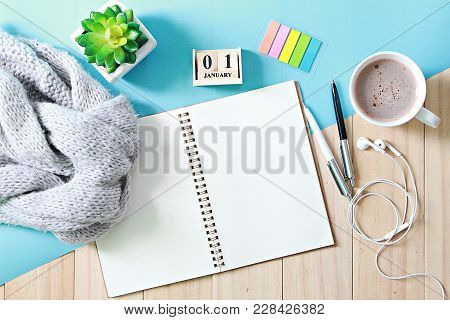 Business, Holiday Or New Year Planning Concept : Desk Table With Scarf, Open Notebook Paper, Cube Ca