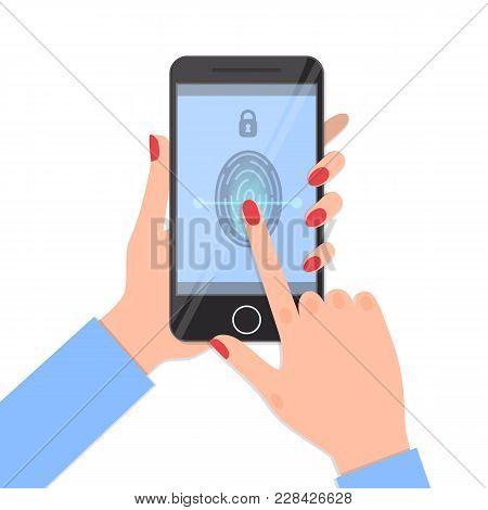 Fingerprint Identification On Smartphone. Fingerprint Scanner, Security Biometric Identification. Ve