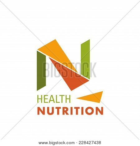 Logo For Natural Nutrition Production. Health Nutrition Sign In Orange And Green Colors. Vector Desi
