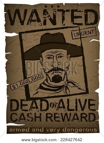 Vintage Wanted Poster Hand Drawn Vector & Photo | Bigstock