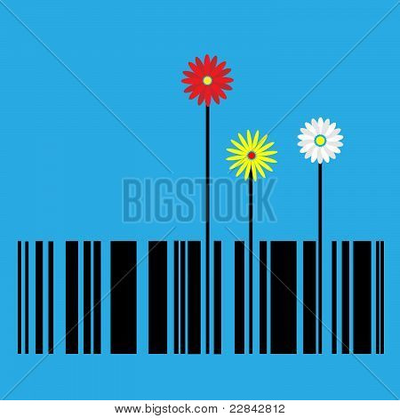Barcode With Flowers