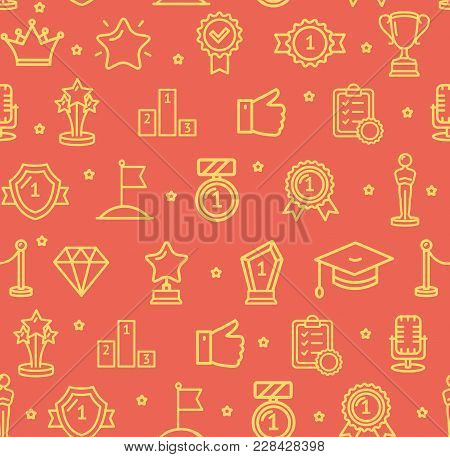 Award Signs Seamless Pattern Background On A Red Include Of Flag, Statue And Barrier. Vector Illustr