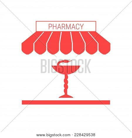 Drugstore, Pharmacy Single Flat Icon. Striped Awning And Signboard. A Series Of Shop Icons. Vector I