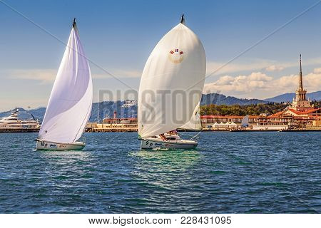 Sochi, Russia - May 21, 2016: Sailing Regatta On The Background Of The City.