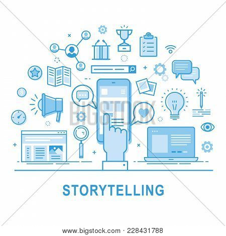 Storytelling Vector. Illustration Of Building Social Media Campaigns Around Stories, Storytelling, P