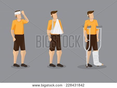 Vector Illustration Of Man With Head Bandage, Arm Sling And Leg Plaster Cast With Crutch Isolated On