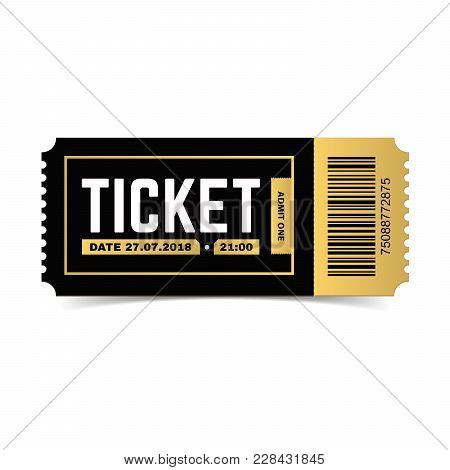 Vector Ticket Isolated On White Background. Cinema, Theater,  Concert, Play, Party, Event Festival B