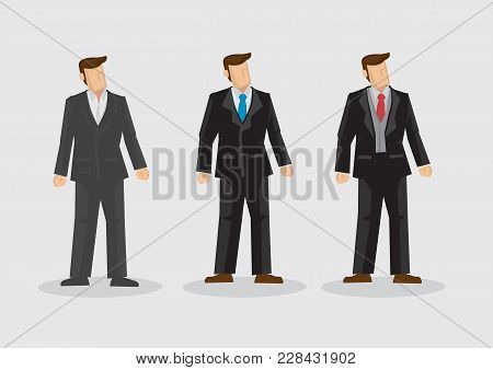 Men Wearing Different Style Formal Black Single Breasted Business Suits With Neckties. Set Of Three