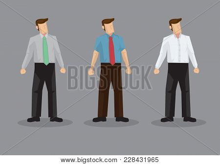 Vector Illustration Of Three Faceless Cartoon Man Character Wearing Conservative Office Style Outfit