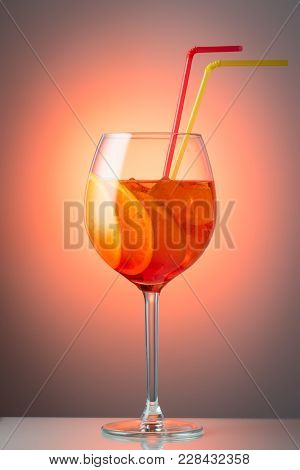 Trendy Popular Italian Drink Summer Refreshing Faintly Alcoholic Cocktail Aperol Spritz In A Glass W