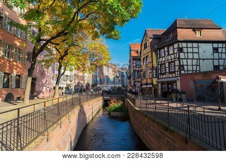 Canal Of Colmar, Most Famous Old Town Of Alsace, France