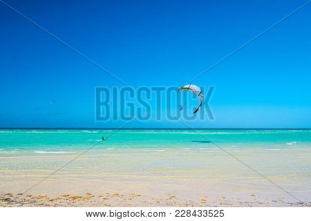 Cayo Guillermo , Cuba - 25 March 2012 : Athletes Surfer Involved In Sports Kite Windsurfing During H